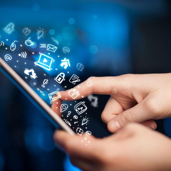 woman touching mobile screen